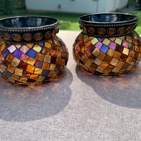 2 PartyLite Candle Votives Gold Global Fusion Mosaic